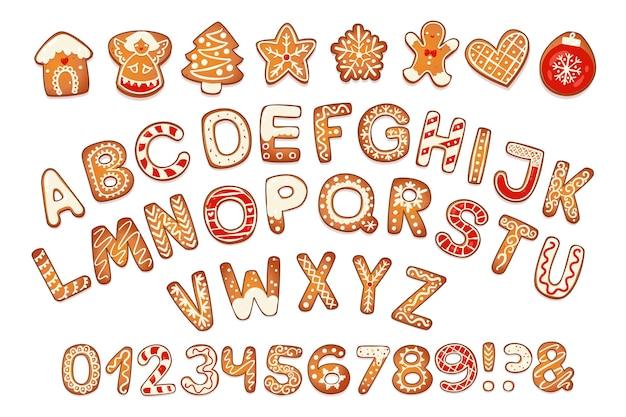 Świąteczne pierniczki alfabet z cyframi ciastka litery i znaki na boże narodzenie