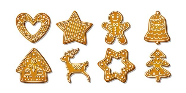 Świąteczne pierniczki zimowe domowe słodycze w kształcie domku i piernikowego drzewka i
