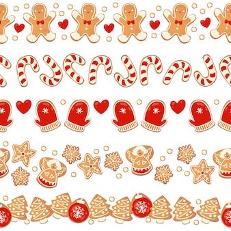 Świąteczne pierniki bezszwowe granic zestaw na białym tle. noworoczna girlanda dekoracyjna. kreskówka ręcznie rysowane ilustracji wektorowych