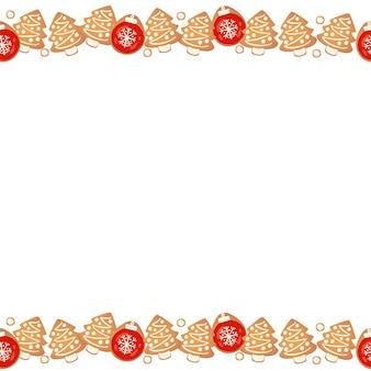 Świąteczne pierniki bezszwowe granica na białym tle. noworoczna girlanda dekoracyjna. kreskówka ręcznie rysowane ilustracji wektorowych