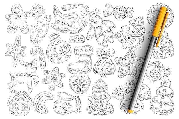 Świąteczne pierniki i ciastka doodle zestaw. kolekcja ręcznie rysowane smaczne domowe słodkie ciastka w kształtach bałwana, ozdobnej piłki, anioła, świętego mikołaja na białym tle