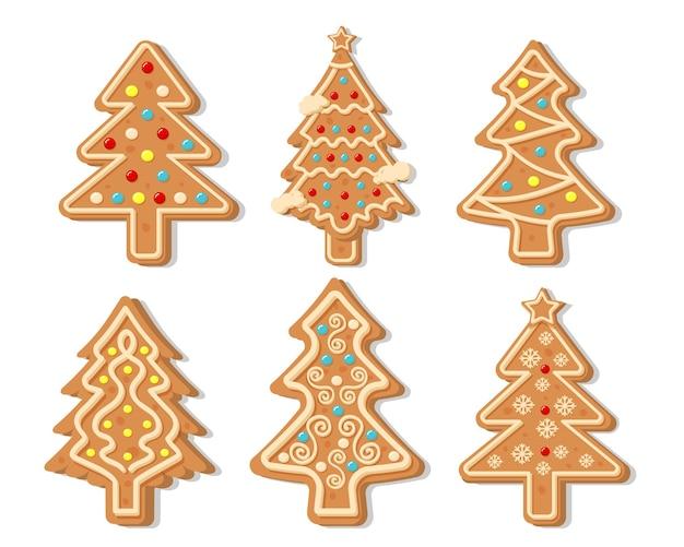 Świąteczne pierniki kolekcja wektor. figurki wesołych świąt i szczęśliwego nowego roku pokryte cukrem pudrem.