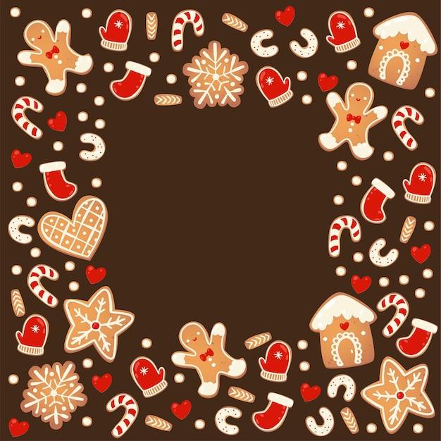 Świąteczne pierniki kwadratowe czekoladowe ramki na białym tle. noworoczna girlanda dekoracyjna. kreskówka ręcznie rysowane ilustracji wektorowych