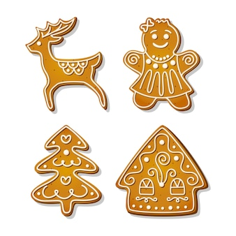 Świąteczne pierniki. świąteczne ciasteczka w kształcie domku i kobiety z piernika, choinki i renifera. ilustracja kreskówka wektor.