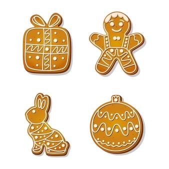 Świąteczne pierniki. świąteczne ciasteczka w kształcie ludzika z piernika i ozdoby choinkowej, pudełka prezentowego i królika. ilustracja kreskówka wektor.