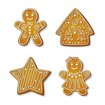 Świąteczne pierniki. świąteczne ciasteczka w kształcie piernikowego mężczyzny i kobiety, domu i gwiazdy. ilustracja kreskówka wektor.