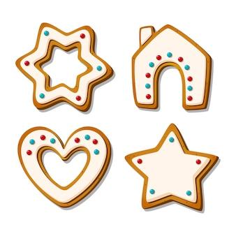Świąteczne pierniki. świąteczne ciastka glazurowane w kształcie domu i serca, gwiazdy i płatka śniegu. ilustracja kreskówka wektor.