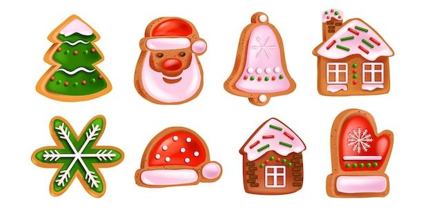 Świąteczne pierniki zestaw wektor wakacje zima kolekcja deser santa claus twarz dzwon