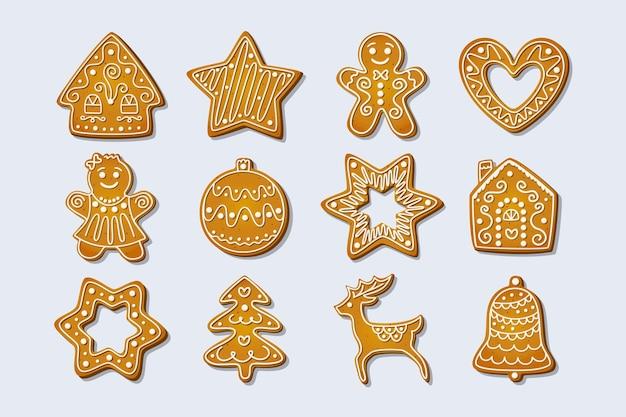 Świąteczne piernikowe ciasteczka zimowe wakacje słodycze w kształcie domu i piernika wektor