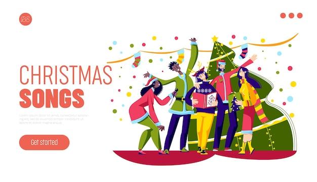 Świąteczne piosenki śpiewają koncepcję z grupą szczęśliwych różnorodnych ludzi kolędujących nad choinką