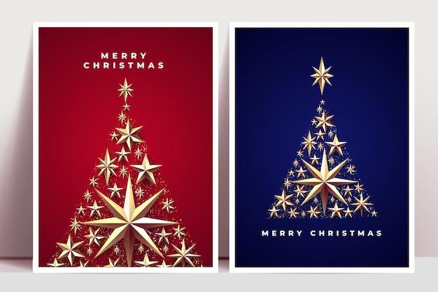 Świąteczne plakaty lub kartki z życzeniami szablon projektu z sylwetkami choinek składającymi się ze złotych elementów dekoracji świątecznych, takich jak gwiazdy i konfetti