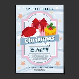 Świąteczne plakaty sprzedażowe prezentujące śnieg i gwiazdkę