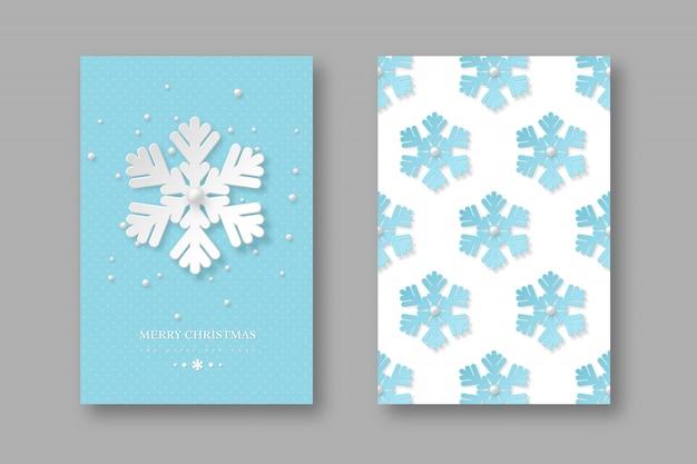 Świąteczne plakaty z płatkami śniegu w stylu cięcia papieru. niebieskie tło kropkowane z tekstem powitania, ilustracji wektorowych.
