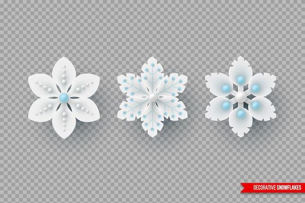 Świąteczne płatki śniegu z cieniem i perłami. dekoracyjne elementy 3d na nowy rok. na przezroczystym tle. ilustracja wektorowa.
