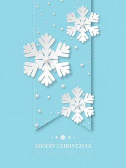 Świąteczne płatki śniegu z perłami. niebieskie tło wakacje kropkowane z tekstem powitania. ilustracja wektorowa.