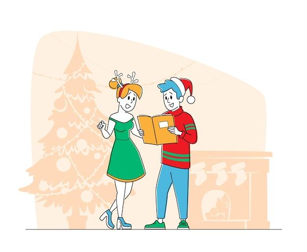 Świąteczne postacie w czapkach świętego mikołaja i renifera śpiewają