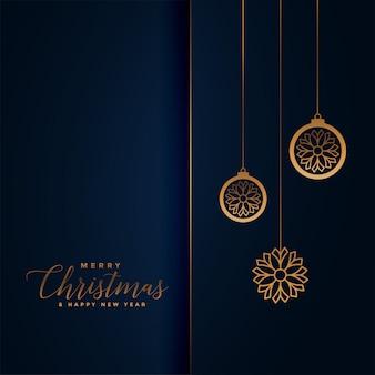 Świąteczne pozdrowienia premium w kolorze niebieskiego i złotego