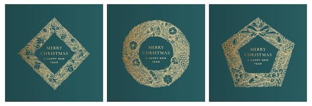 Świąteczne pozdrowienia wektor banner szablony zestaw zimowy urlop symbol doodle sosna gałęzie wieniec sk...
