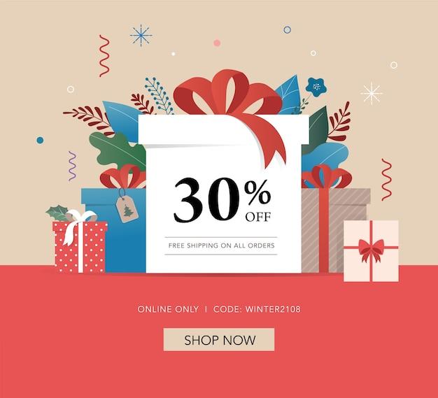 Świąteczne promocje, szablon banera noworocznego, plakat sprzedażowy i ulotka z pudełkami na prezenty i dekoracjami świątecznymi