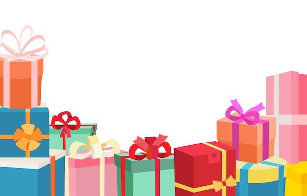 Świąteczne pudełka na prezenty świąteczne płaskie ilustracja na białym tle
