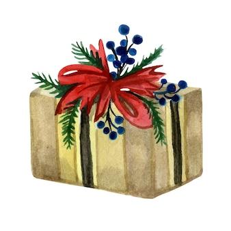 Świąteczne pudełko owinięte w papier i udekorowane