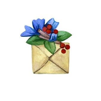 Świąteczne pudełko ozdobione jagodami i wstążką ilustracji wektorowych akwarela