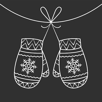 Świąteczne rękawiczki. ilustracja wektorowa linii sztuki