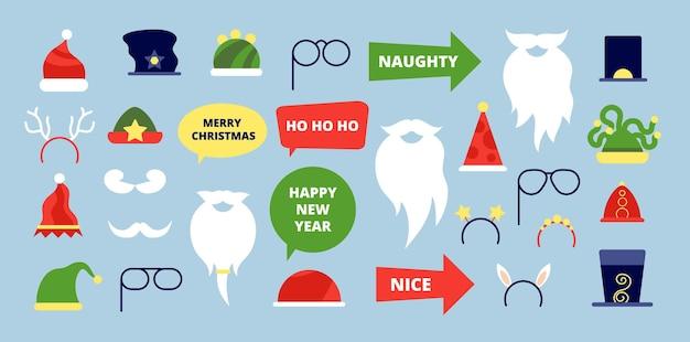 Świąteczne rekwizyty fotograficzne. akcesoria eventowe, świąteczne elementy fotobudki. nowy rok boże narodzenie santa broda wąsy kapelusz ilustracji wektorowych. świąteczna impreza w fotobudce, świąteczna fotobudka
