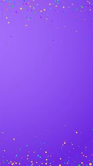 Świąteczne rzadkie konfetti. gwiazdy uroczystości. jasne konfetti na fioletowym tle. pobieram świąteczny szablon nakładki. pionowe tło wektor.