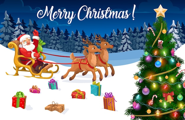 Świąteczne sanie, mikołaj i choinka z prezentami.