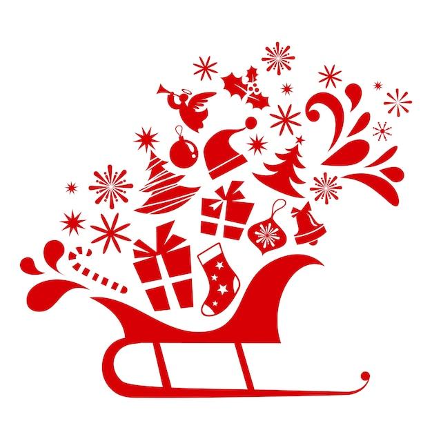 Świąteczne sanki pełne prezentów - tło na plakat, baner lub kartkę z życzeniami