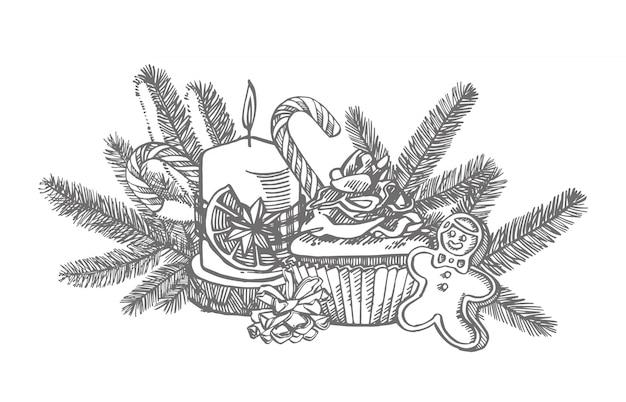 Świąteczne słodycze, gałęzie choinek i świece. ręcznie rysowane ilustracji. elementy nowego roku i świąt bożego narodzenia. . vintage ilustracji.