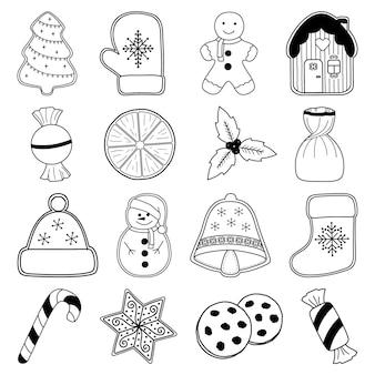 Świąteczne słodycze zestaw 16 elementów w stylu doodle