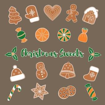 Świąteczne słodycze zestaw 20 elementów w stylu doodle