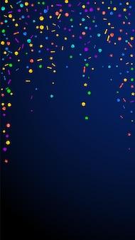 Świąteczne soczyste konfetti. gwiazdy uroczystości. świąteczny konfetti na ciemnym niebieskim tle. wspaniały świąteczny szablon nakładki. pionowe tło wektor.