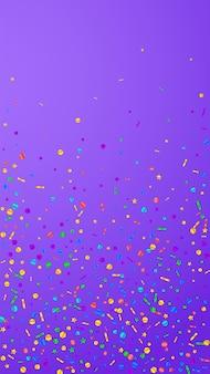 Świąteczne symetryczne konfetti. gwiazdy uroczystości. świąteczny konfetti na fioletowym tle. wspaniały świąteczny szablon nakładki. pionowe tło wektor.
