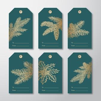 Świąteczne tagi lub etykiety prezentowe zestaw ręcznie rysowane gałęzie sosny firneedle ze strobile i szkice liści ostrokrzewu złoty brokat gradient