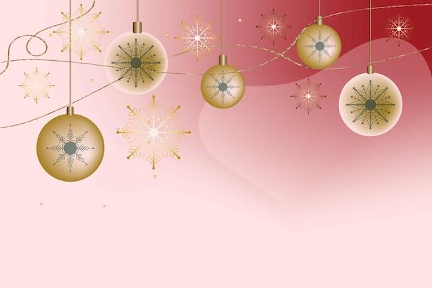 Świąteczne tło boże narodzenie pocztówka zaproszenie gradient bombki śnieżynka nowy rok