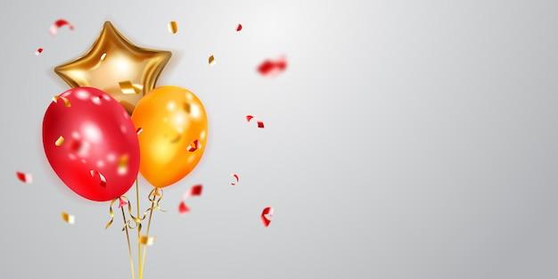 Świąteczne tło ze złotymi i czerwonymi balonami i błyszczącymi kawałkami serpentyny. ilustracja wektorowa na plakaty, ulotki lub karty.