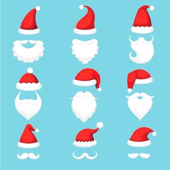 Świąteczne tradycyjne czerwone ciepłe czapki mikołaja z futrem, białe brody ustawione