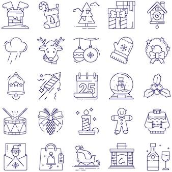 Świąteczne wektorowe ikony