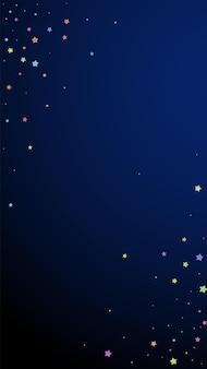Świąteczne wielkie konfetti. gwiazdy uroczystości. kolorowe gwiazdki losowo na ciemnoniebieskim tle. drobny świąteczny szablon nakładki. pionowe tło wektor.