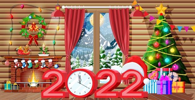 Świąteczne wnętrze pokoju z drzewem, oknem, prezentami i urządzonym kominkiem. szczęśliwego nowego roku ozdoba. wesołych świąt bożego narodzenia. obchody nowego roku i bożego narodzenia. wektor ilustracja płaski styl