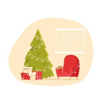 Świąteczne wnętrze z fotelem choinka i prezenty przytulny zimowy wieczór