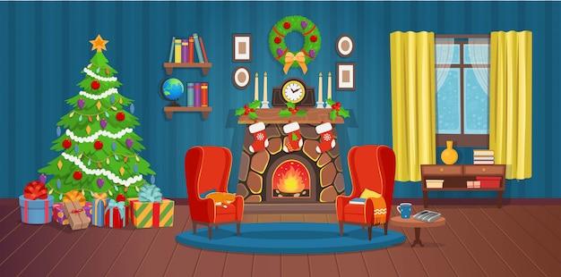 Świąteczne wnętrze z kominkiem, choinką, oknem, regałem, biurkiem i fotelami.