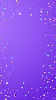 Świąteczne wspaniałe konfetti. gwiazdy uroczystości. kolorowe gwiazdki losowo na fioletowym tle. pobieram świąteczny szablon nakładki. pionowe tło wektor.