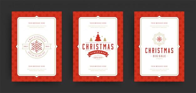 Świąteczne wyprzedaże ulotki lub banery zestaw ofert rabatów i płatki śniegu z ozdobną dekoracją