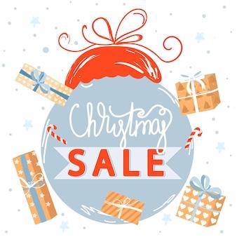 Świąteczne zakupy plakat sprzedaży świątecznych i szczęśliwego nowego roku