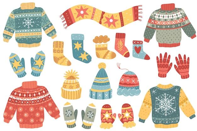 Świąteczne zimowe swetry i kolekcja przedmiotów
