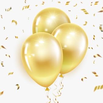 Świąteczne złote balony z serpentynami i konfetti. układ na urodziny, boże narodzenie, rocznicę.